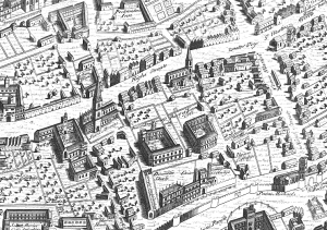 Detail from the Ralph Agas wall-map of Oxford (1588).