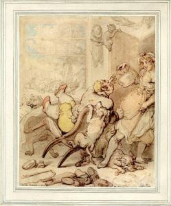The Fox Hunter at Fault or a Scrambling Breakfast – a sketch by Thomas Rowlandson from the Rose Collection. © Trustees of the British Museum.