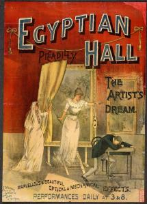 "© The British Library Board.  Pressmark Evan.334.  ""The Artist's Dream"" presented at the Egyptian Hall by David Devant in 1893.  Lithographed by Joseph Weiner."