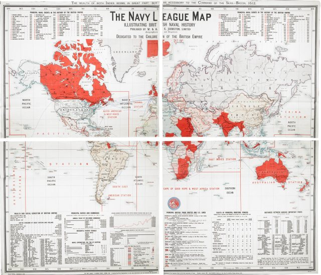 The Navy League Map, Illustrating British Naval History.  London : W. & A.K. Johnston, 1901. BL Maps 950.(136.). © British Library Board.
