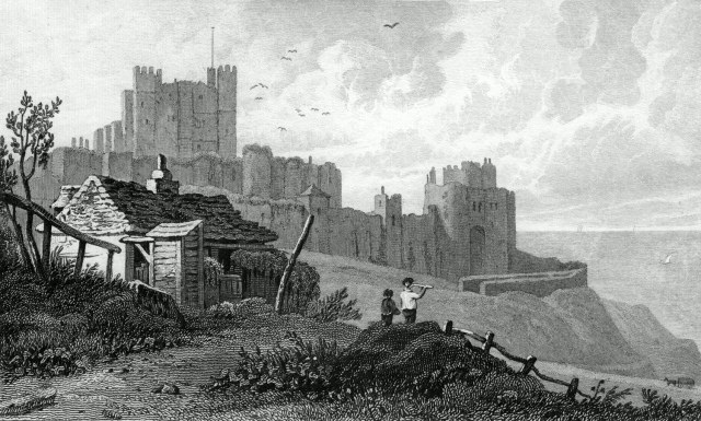 Dover Castle, Kent. 1828. Engraved by Henry Adlard.