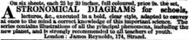 Advertisement for larger paper charts for schools. London Daily News, 9th July 1847 © British Library Board