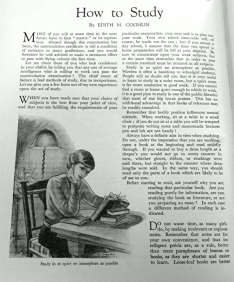 """""""How to Study"""" from """"The Girl's Own Paper"""" (1934)."""