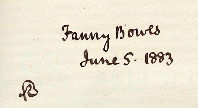 Inscription to Fanny Bowes