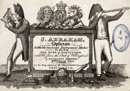 01A87X1M; Trade card of J Abraham, optician and mathematical instrument maker, 1837.